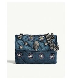 146949ddb KURT GEIGER LONDON - Mini Kensington embellished velvet shoulder bag