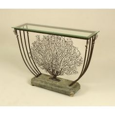Maitland-Smith Black Iron Coral Motif Console Table, Green Stone Base, Brass Accents, Beveled Glass Top