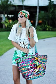 vacation style, straw tote with tassel