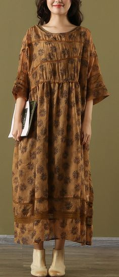 efb4dd559ac French brown print linen Long o neck patchwork two pieces Maxi summer  Dresses