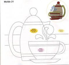 tea cup and pot applique