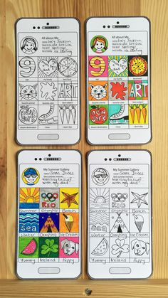 Create fold out 'Art Phones'. Back to school art lesson ideas to capture 'All About Me' and 'Memories of Summer' in an imaginative and illustrative way