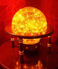 Tämä on tekemistäni valaisimista yksi suosikkejani, työnimeltään Saturn Sphere. Lampun runko on… First Blog Post, Steampunk Clothing, Vintage Lamps, Recycling, Miniatures, Vintage Light Bulbs, Repurpose, Mockup, Vintage Lighting