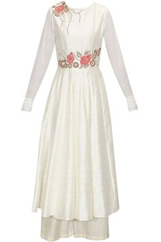 White floral embroidered anarkali set available only at Pernia's Pop-Up Shop.