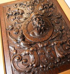 Fabulous Antique Hand Carved Oak Panel in Frame, Figural Bas Relief Grotesques and Full Relief Bust