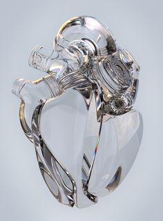 Weird Twist: Anatomically Correct Heart of Glass Abstract Illustration, Heart Illustration, Digital Illustration, Arte Robot, Anatomical Heart, Human Heart, Heart Art, Glass Art, Clear Glass