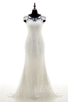 Pretty Sheath-Column Illusion Natural Court Train Lace Ivory Cap Sleeve Zipper Wedding Dress LD3513 #weddingdresses #cocomelody