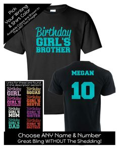 Impact Birthday Girl's Brother Shirt - Personalize the Name, Age and Colors - Birthday Party Matching Shirts by MagicalMemoriesbyJ on Etsy Family Birthday Shirts, Family Birthdays, Sister Birthday, Matching Shirts, Sweet 16, Colorful Shirts, Brother, Names, Trending Outfits