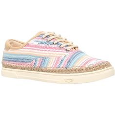 UGG Eyan Lace Up Plimsolls , Multi ($110) ❤ liked on Polyvore featuring shoes, sneakers, multi, flat shoes, low sneakers, flat sneakers, canvas lace up shoes and canvas low-top sneakers