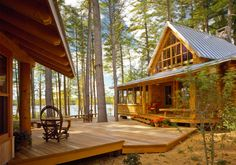 Small Lake Cottage Decorating Ideas Landscaping Next To Small Lake House Alongside Cabin And Under Trees Lake Cabins, Cabins And Cottages, Cabin Homes, Log Homes, Cabin Design, House Design, Deck Design, Railing Design, Roof Design