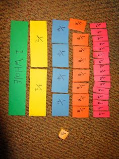 Fraction Fun - dice game for teaching equivalent fractions 3rd Grade Fractions, Teaching Fractions, Math Fractions, 4th Grade Math, Teaching Math, Equivalent Fractions, Comparing Fractions, Third Grade, Teaching Ideas