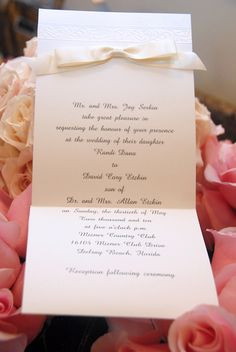 Ivory Wedding Invitation on Pink & Peach Flowers - Mazelmoments.com