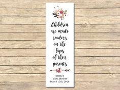 Printable Boho Bookmark Favors, Floral Boho Bookmarks, Boho Baby Shower Bookmark Favor, Feathers Arrows Printable Favor, Download 026-W