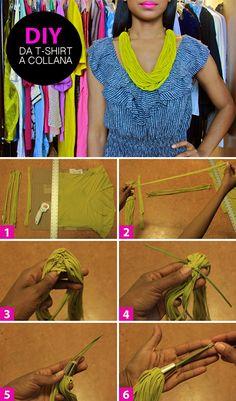 Collana fai da te tutorial, scopri come realizzare un'originale collana a partire da una vecchia t-shirt. Guarda la gallery e segui il tutorial