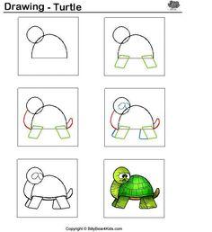 schildpad tekenen voor kleuters / desenhando+animais