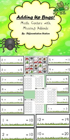 Bugs Adding Up! 4 Differentiated Math Centers with Missing Addends, Common Core Aligned. Kindergarten, first grade, special education, homeschool.