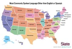 Most commonly spoken language other than English and Spanish in each US state