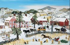 The Art of Will Moses. Checkered House Christmas - Will Moses Serigraph Bob Ross Paintings, Art Paintings, Akiane Kramarik, Grandma Moses, In The Tree, Vintage Christmas Cards, Winter Scenes, American Artists, House Painting