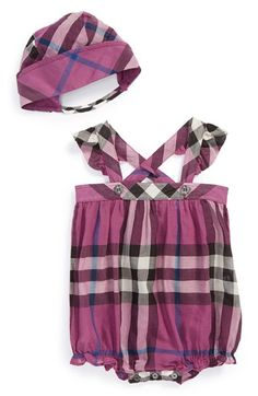 8e6d3a8715f0 Burberry  Pippion  Check Cotton Playsuit  amp  Bonnet (Baby Girls)  available at