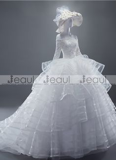 Ball Gown High-end Lace Princess Square Shoulder with Sleeves Floor-length Wedding Dress