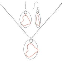 Sterling Silver Floating Heart Pendant and Earrings Two-Piece Set (18 in.)    #ShaneCoLBD