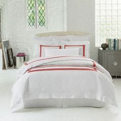 Sferra Orlo White/Salmon Bedding Collection - 25% Sale