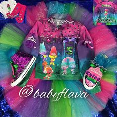Full sleeved denim jacket and tutu set Trolls Birthday Party, Troll Party, 7th Birthday, Birthday Ideas, Cute Little Girls Outfits, Kids Outfits, Baby Girl Birthday Outfit, Birthday Outfits, Black Kids Fashion