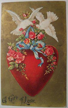 Vintage Valentine's Day Postcard - Valentinstag Valentine Images, Vintage Valentine Cards, Vintage Greeting Cards, Vintage Holiday, Vintage Postcards, Valentines Greetings, Valentines Day Hearts, Valentine Day Crafts, Happy Valentines Day