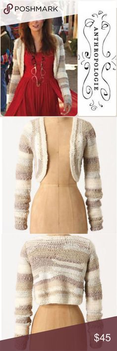 """😍New! Far Away From Close cropped cardigan This bolero style sweater is gorgrous and versatile. I SO wanted this but it's just a bit big on me to be flattering. Measures about 20"""" across bust, 14"""" long. A reposh in excellent pre-loved condition. Anthropologie Sweaters Cardigans"""