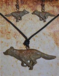 Bronze Running Wolf Necklace