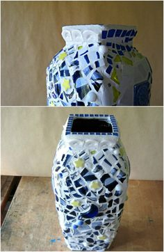 Repurposed China Covered Vase 20 Brilliant Repurposing Ideas and Projects For Broken China And Other Glass Broken China, Broken Glass, Trash To Treasure, Repurposed, Beautiful Homes, Diy Home Decor, Glass Vase, Home And Garden, Diy Crafts