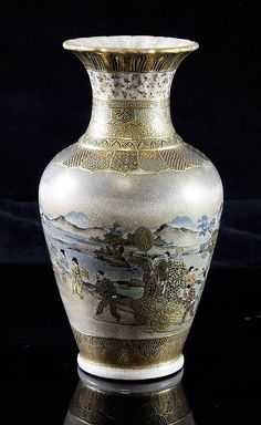 A Japanese Satsuma pottery small baluster vase, Meiji period, painted to a wide central band with continuous scene of figures in a landscape including a hand drawn cart surmounted by the figure of a nobleman, five character gilt and black seal mark to base, 5.75in.