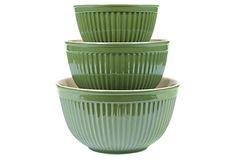 3-Piece Mixing Bowl Set, Olive on OneKingsLane.com