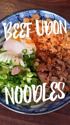 Easy Asian Recipes, Korean Food Recipes, Healthy Japanese Recipes, Beef Udon, Asian Cooking, Aesthetic Food, Pasta, International Recipes, Food Hacks