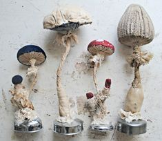 Textile Mushrooms On Vintage Metal Bases