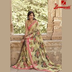 Get a majestic look with the ever glorious Multicoloured Georgette Satin Patta Saree by ‪#‎LaxmipatiSaree‬.  ‪#‎ethinicwear‬ ‪#‎Fashions‬