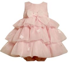 Bonnie Baby Girls Infant Organza Tiered Dress With Delicate Flower Trim