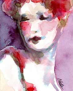 """Art Print Female Figure Watercolor Painting - """"In the Garden"""" - 8 x 10"""