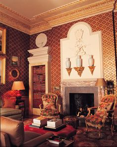Nicholas Haslam (I just drooled on my iPad... The moulding, wallpaper, furniture... Shut the front door!! -mp)