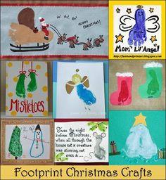 Christmas Footprint Art  Crafts for kids christmas cards, craft art, art crafts, footprint art, thumb prints, christmas art, footprint crafts, christmas ideas, xmas cards