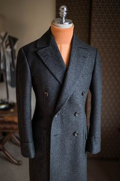 Grey & Brown color mixed bespoke polo coat by B&TAILOR