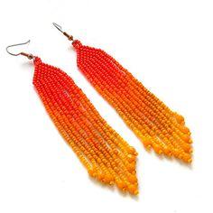 Orange and yellow seed bead earrings beadwork by Anabel27shop