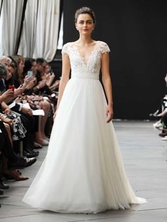 Nouvelle Amsale Spring 2019 wedding dress with lace bodice and tulle ball skirt