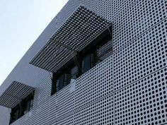 The whole building screen is made of stainless steel perforated sheet.
