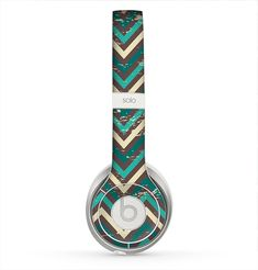 The Vintage Green & Tan Chevron Pattern Skin for the Beats by Dre Solo 2 Headphones