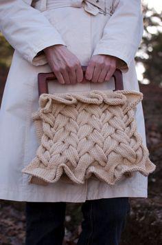 Hand knit handbag fashion designer purse satchel braided texture luxurious OOAK romantic bridal ivory beige - Plaited Dreams - Ready To Ship on Etsy, $336.00
