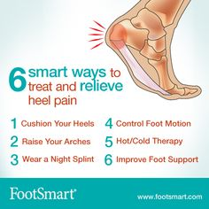 Your high heels might be one of the causes of your heel pain. Need relief? Find out how you can help relieve heel pain in 6 smart ways, like wearing a night splint that stretches the foot or wearing shoes with improved support.