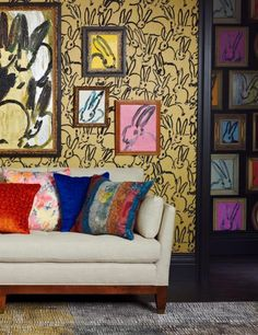 Hunt Slonem fabrics, wallpapers and carpets at Lee Jofa, ADAC Atlanta #vibrant #exotic #color #couch