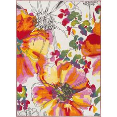 World Rug Gallery Modern Bright Flowers Non-Skid Rectangular Rugs-JCPenney, Color: Multi Floral Area Rugs, Yellow Area Rugs, Floral Rug, White Area Rug, Yellow Rug, Retro Floral, Floral Design, Bright Flowers, Bright Art