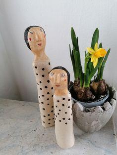 Gartenfiguren Duo gepunktet Keramik Skulptur Gartenkeramik Punkte Wohndekoration